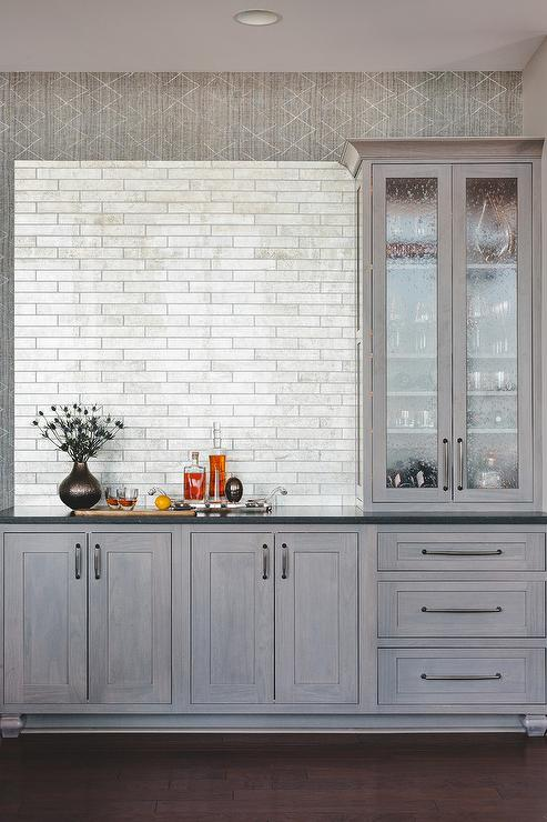 Gray Butler Pantry Cabinets With Stainless Steel Mini