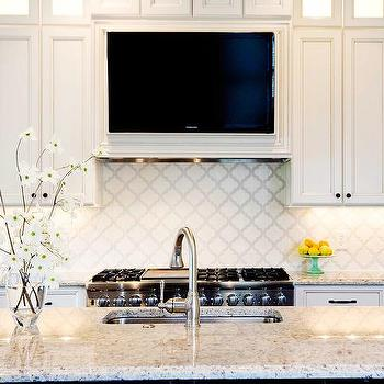 Tv Over Stove Transitional Kitchen