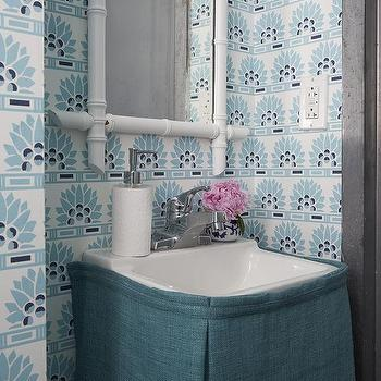 White and blue powder room with beadboard trim contemporary
