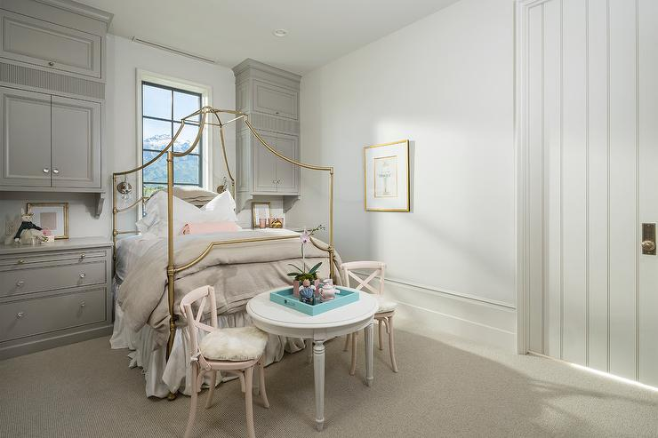 Gray And Pink Girls Bedroom With Gold Canopy Bed