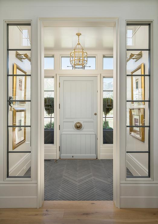 Blue Foyer Door : Vestibule with pale blue front door transitional