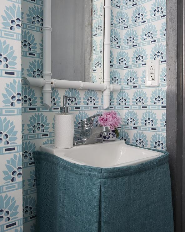 Blue Powder Room With Blue Skirted Sink
