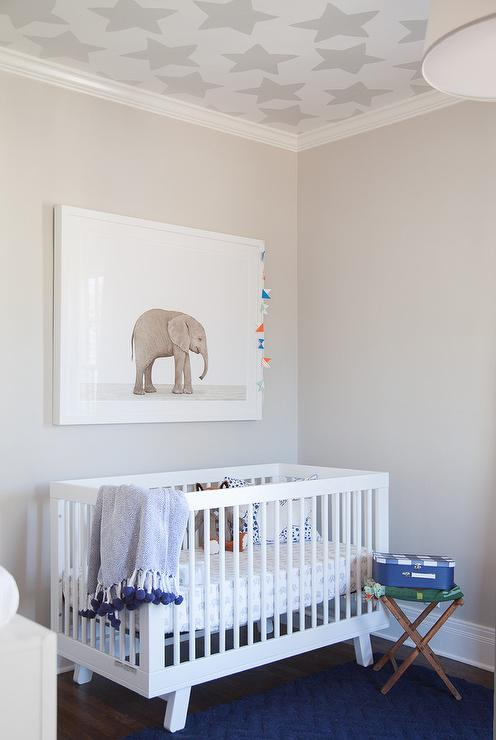 White And Blue Boy Nursery With Silver Stars Wallpaper On Ceiling