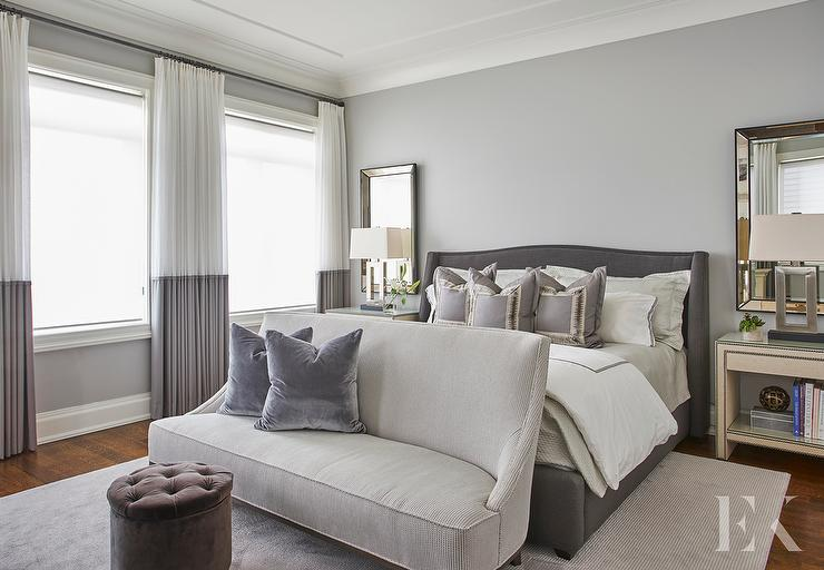 Gray Bedroom with Ivory Linen Nailhead Nightstands - Contemporary ...