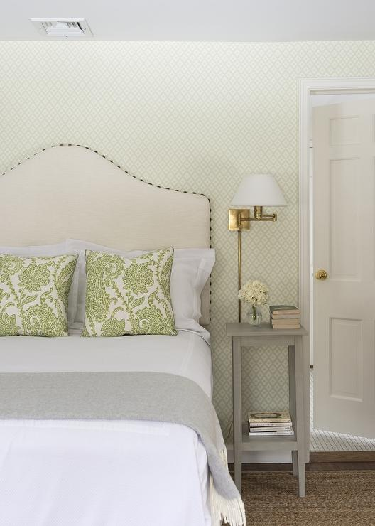 White and Green Bedroom with Tall Gray Nightstand ...