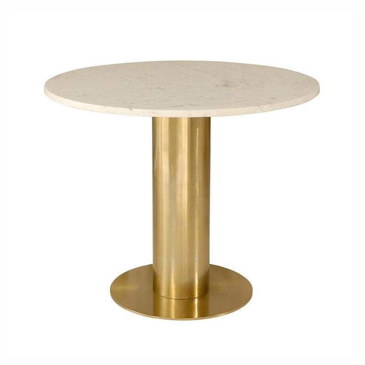 White Marble Top Tube Base Table
