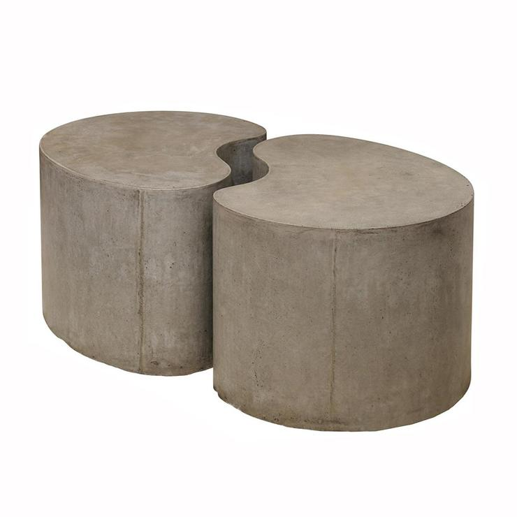 Sculpted concrete gray drum coffee table for Concrete drum coffee table