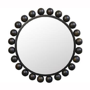 black metal orb mirror