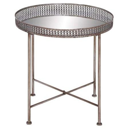 Brass Frame Round Glass Tray Table