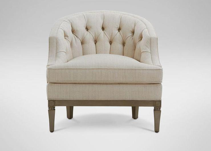 Superior Ivory Barrel Back Button Tufted Chair
