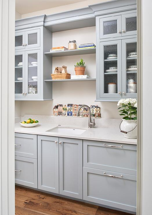 Gray Butler Pantry With Sink Transitional Kitchen