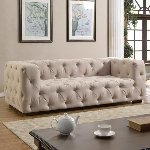 Ivory Tufted Large Contemporary Sofa