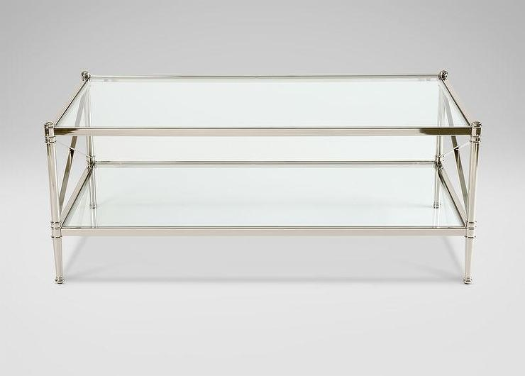 Glass And Silver Metal Rectangle Coffee Table