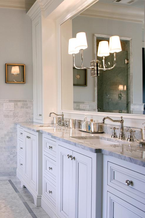 Gray Dual Washstand with Gray Quartzite Countertops