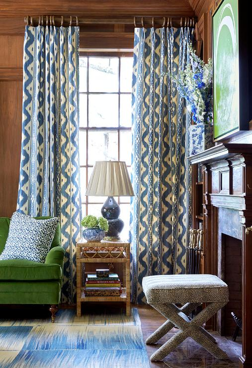 Blue And Green Den With Seagrass End Tables