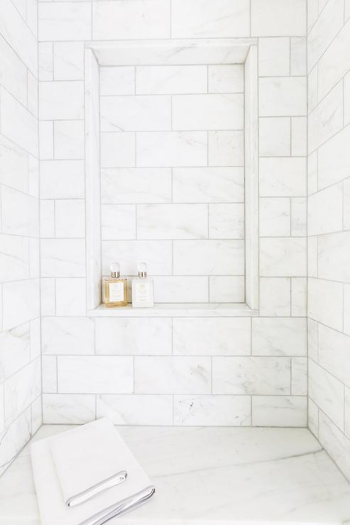Honed White Marble Shower with Tiled Shower Niche Shelf - Transitional