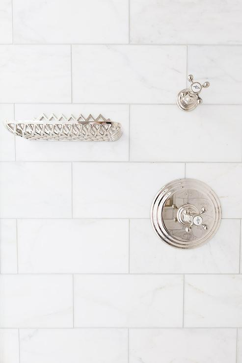 Honed White Marble Shower Tiles With Polished Nickel Soap Dish On Wall
