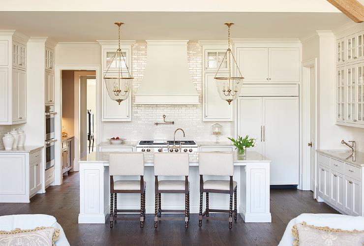 Wonderful Ivory Kitchen With Ivory Glazed Stacked Backsplash Tiles