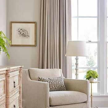 Chair Upholstered In Peter Dunham Fig Fabric Transitional Bedroom