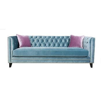 Jennifer Taylor Blue Velvet Polyester Tufted Back Sofa
