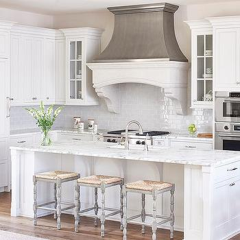 White and Gray Kitchen with Zinc French Kitchen Hood & Backless Gray French Kitchen Counter Stools Design Ideas islam-shia.org