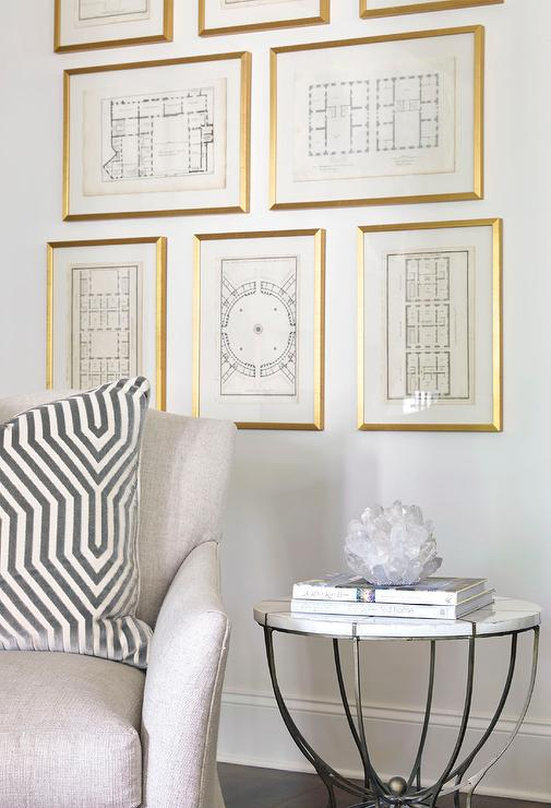 ... With A Gray Linen Accent Chair Lined With A Mary McDonald Vanderbilt  Velvet Dove Pillow And A Round Metal And Marble Accent Table Placed Before  A Wall ...