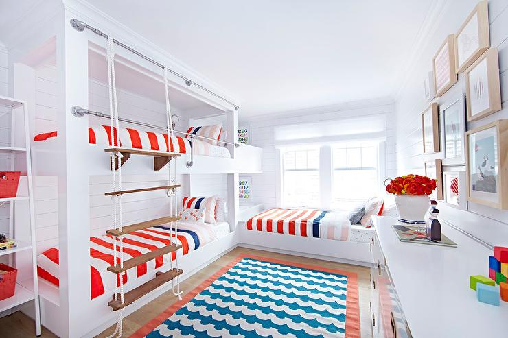 Red White And Blue Boys Bedroom With Rope Bunk Bed Ladder Cottage Boy S Room