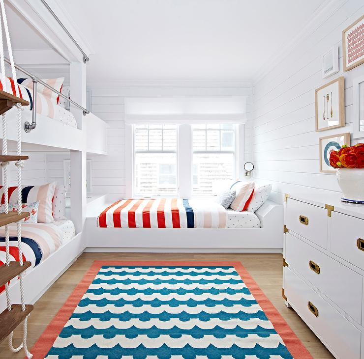 Red White And Blue Kids Room With Bunk Beds And Piping Safety Rails