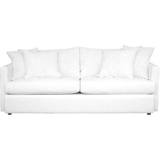 White Linen Four Pillow Sofa