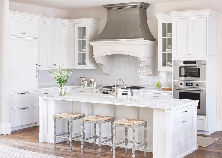 cf65a517dc7 White and Gray Kitchen with Zinc French Kitchen Hood - Transitional ...