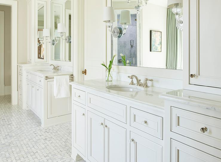 white bath vanity with oval glass knobs transitional bathroom