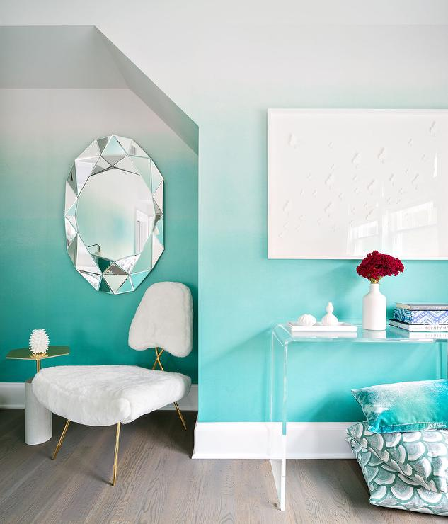 Aqua Blue Foyer With Clear Acrylic Waterfall Console Table