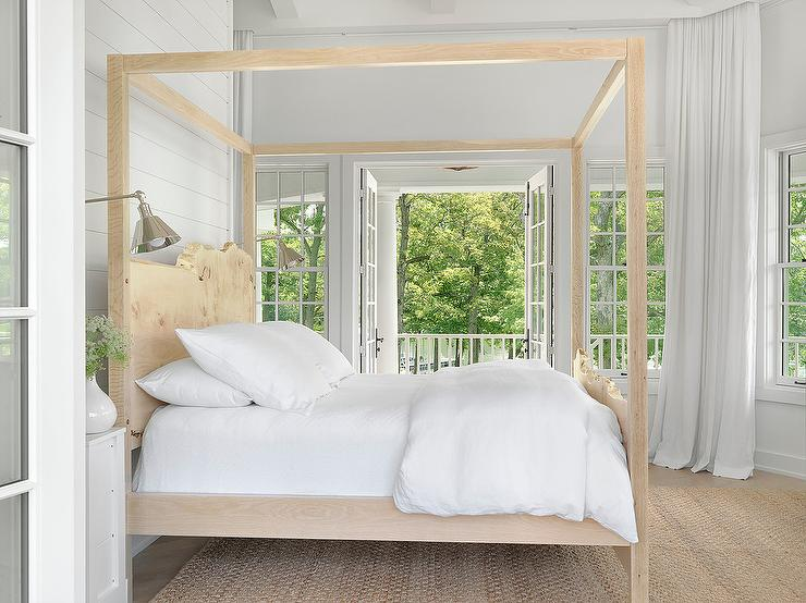 White Cottage Bedroom with Blond Carved Wood Canopy Bed & White Cottage Bedroom with Blond Carved Wood Canopy Bed - Cottage ...