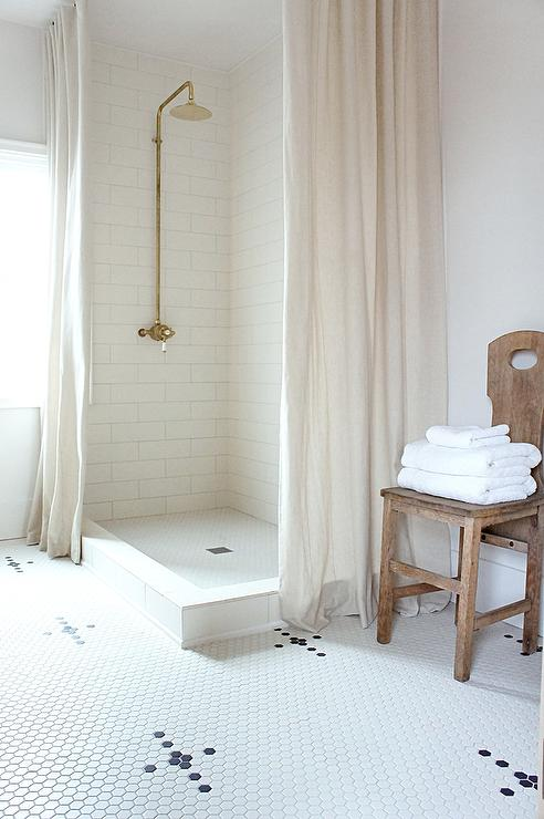 Corner Walk In Shower With Two Linen Curtains