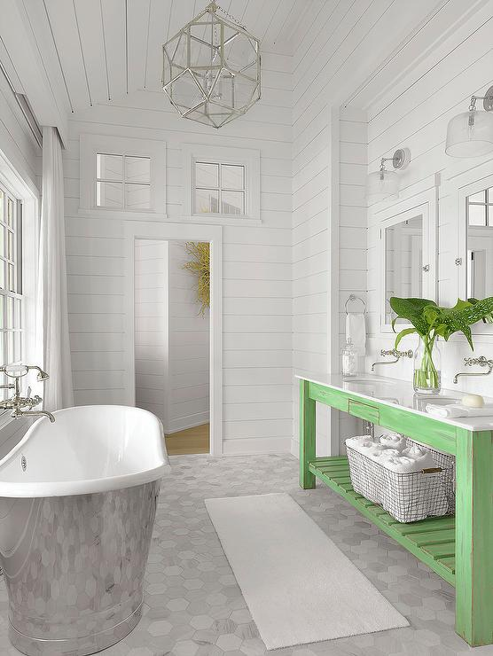 Cottage Bathroom With Green Gray Shiplap Walls Cottage