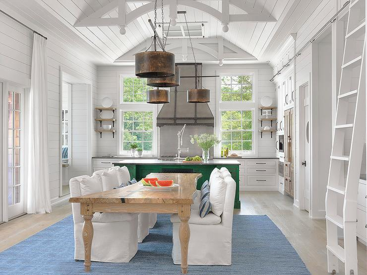 White Cottage Kitchen With Emerald Green Island