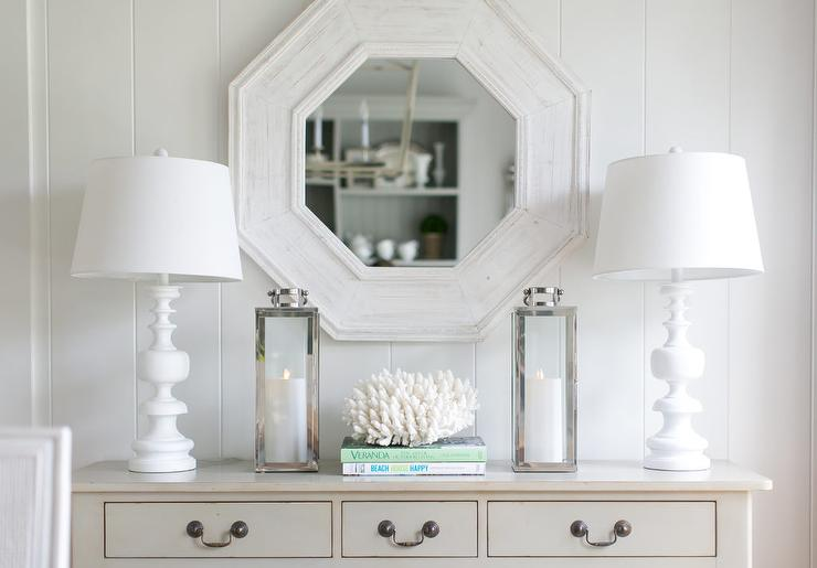 Ivory Foyer Table With Whitewashed Octagon Mirror