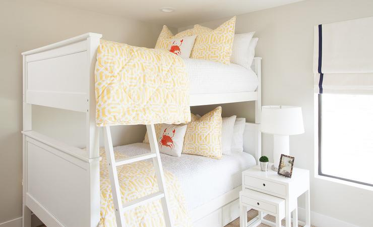 White Bunk Beds With White Nesting End Table Cottage Girl S Room