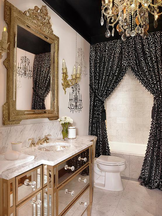 Black And Gold Baroque Bathroom With Black Ceiling