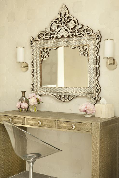 gold makeup vanity table. Gold Metal Hammered Makeup Vanity With Ornate Mirror  Transitional