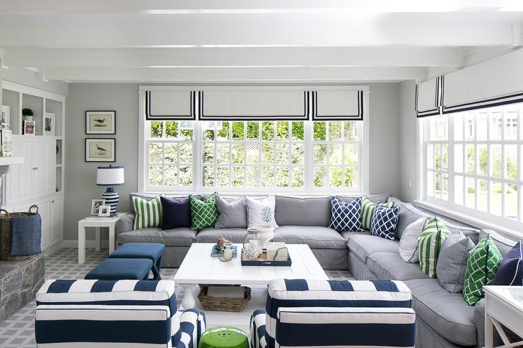 Gray and Blue Living Room with White Plank Coffee Table ...