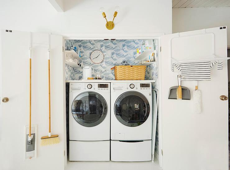 Double Laundry Room Door With Drying Rack