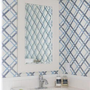 Blue Bathroom With Navy Washstand And Lattice Wallpaper