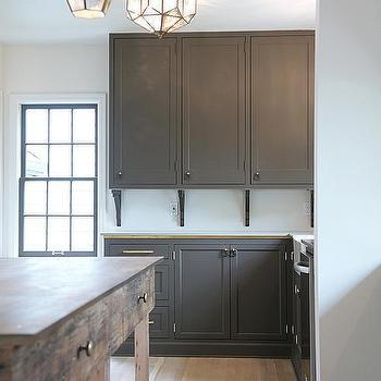 Dark Gray Kitchen Cabinets With Dark Gray Corbels