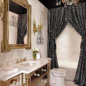 Etonnant Black And Gold Baroque Bathroom With Black Ceiling