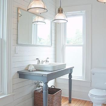 Gray Sink Vanity With Gray Turned Legs