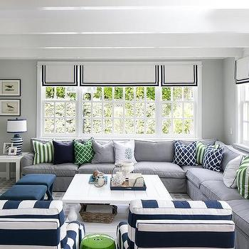 Striped Living Room Chairs. Gray and Blue Living Room with White Plank Coffee Table And Striped Accent Chairs Design Ideas