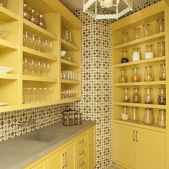 Yellow And Gray Backsplash Tiles Design Ideas