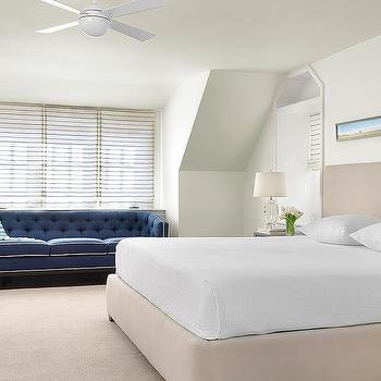 Blue Cottage Bedroom With Shadowbox Art Over Bed Cottage