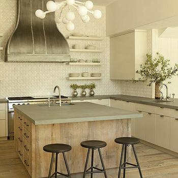 Reclaimed Wood Island With Concrete Countertops Design Ideas